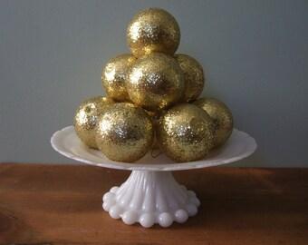 Vintage Gold Glitter Ball Ornaments Set of 12