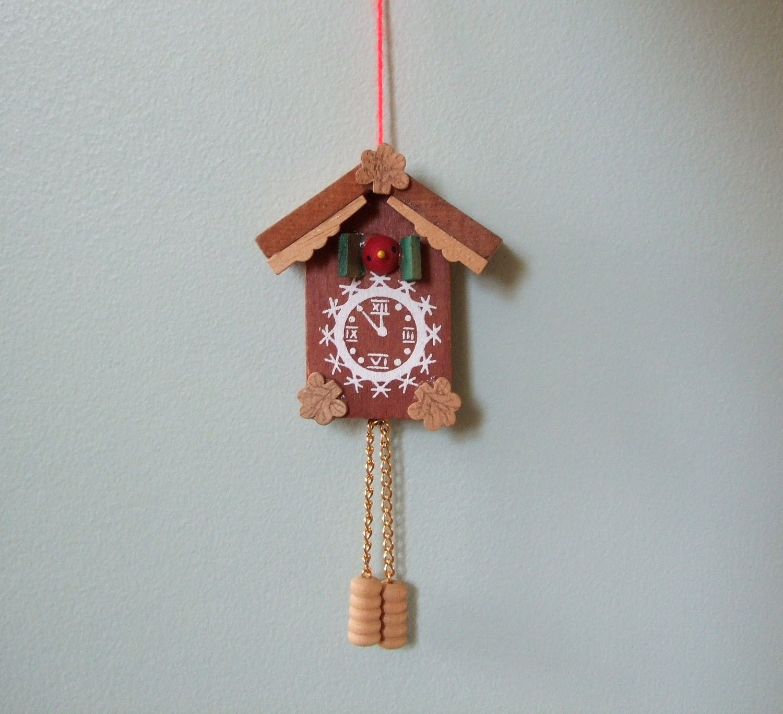 Vintage cuckoo clock wooden christmas ornament