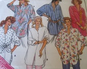 Butterick Pattern for Misses Shirts-Long Sleeve Button Down Loose fitting shirt-All sizes