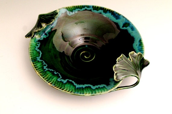 Ginkgo Leaves Emerald Green Art Nouveau Stoneware Studio Pottery Bowl