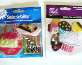Set of 12 Iron-On Appliques for Women Girls Tweens Teens - Embroidered Cupcakes Purses Shoes