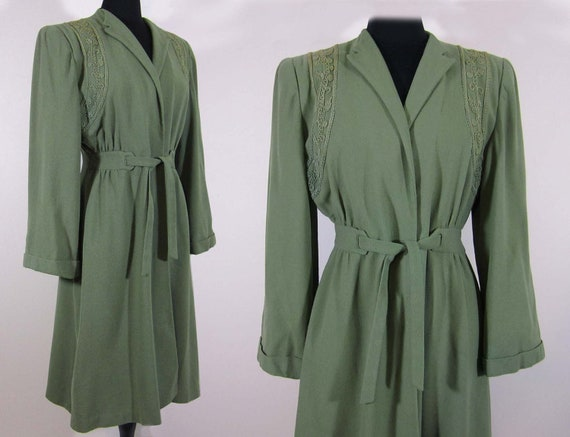 1940s Coat - Moss Green Belted Wrap - Wide sleeves - Soutache Trim, satin lining -S-M