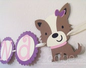 Dog NAME Banner in Purple with Pink & Cream - girly terrier dog collection