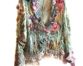 Reserved for Rosy Last payment Unique Lace Jacket Hippi  SERGEANT PEPPER Boho Tribal Ethno Forest Gipsy Wilde Country Green Aqua Mint Pink