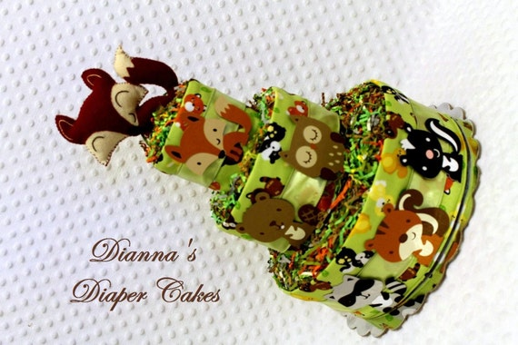 Baby Diaper Cakes Woodland Animals with Fox Rattle