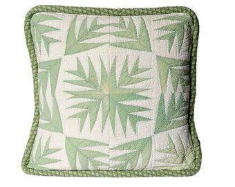 Vintage Pillow Cover, 20 Inches, 1930sPalm Leaf Quilt, Graphic Design, Lt. Green, Off White, Shabby Chic, Matching Piping, 3 Available
