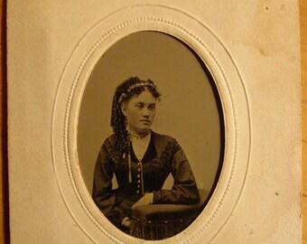 Tintype Antique Photo - Miss Parrington - Woman of Lewiston , Maine