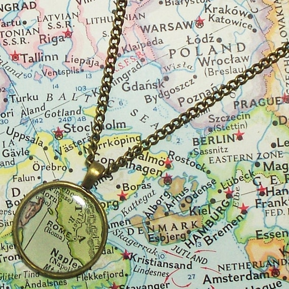 Rome, Italy 1942 Map Necklace. Map Pendant. Map Jewelry.