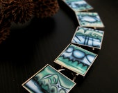 Polymer Clay Bracelet - Ocean Dreams, Mokume Gane, Modern Bracelet, Blues and Greens, Square Bracelet