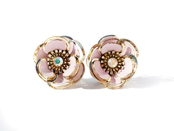 Light Pink Enamel and Gold Flower Clip On Earrings with Rhinestone Center 3D Statement Piece Shabby Chic - Pretty in Pink