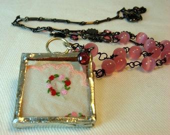 Pink Vintage Handkerchief Necklace