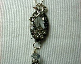 Marcasite Silver Bird And Flower Necklace
