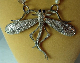 Ancient Rhinestone Dragonfly Necklace