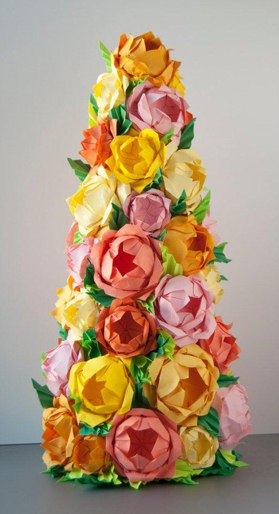 Origami Rose Cone Arrangement