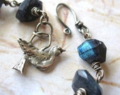 Nightingale - Oxidized Sterling Silver and Spectrolite Gemstone Handmade Wire Wrapped Artisan Bracelet
