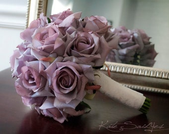 Wedding Bouquet Lavender Rose and Lace Silk Wedding Bouquet