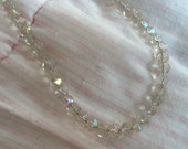 Vintage Necklace Faceted Clear Glass Beads