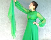 Designer Prom Gown - Vintage 70s Lillie Rubin Chartreuse Green Gown w/ Rhinestones/scarf - Homecoming/PROM QUEEN Formal Dress - M - Runway