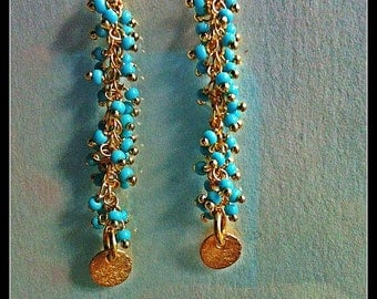 Vermeil and Turquoise Fringe Dangle Earrings