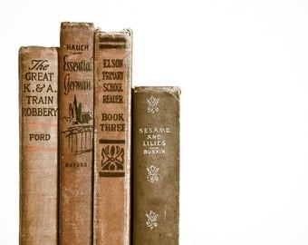 Old Vintage Book Spines Photographic Art Print, Wall Art for Home decor, 12 Sizes Available from Prints to Mounted Canvas