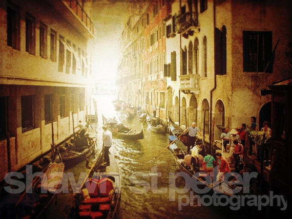 Venice Italy Gondola Parking Photographic Art Print, Wall Art for Home decor, 12 Sizes Available from Prints to Mounted Canvas