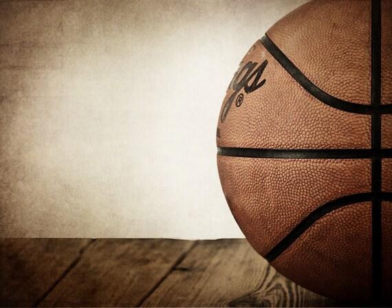 Vintage Basketball On Wood Half View Photo Print Decorating