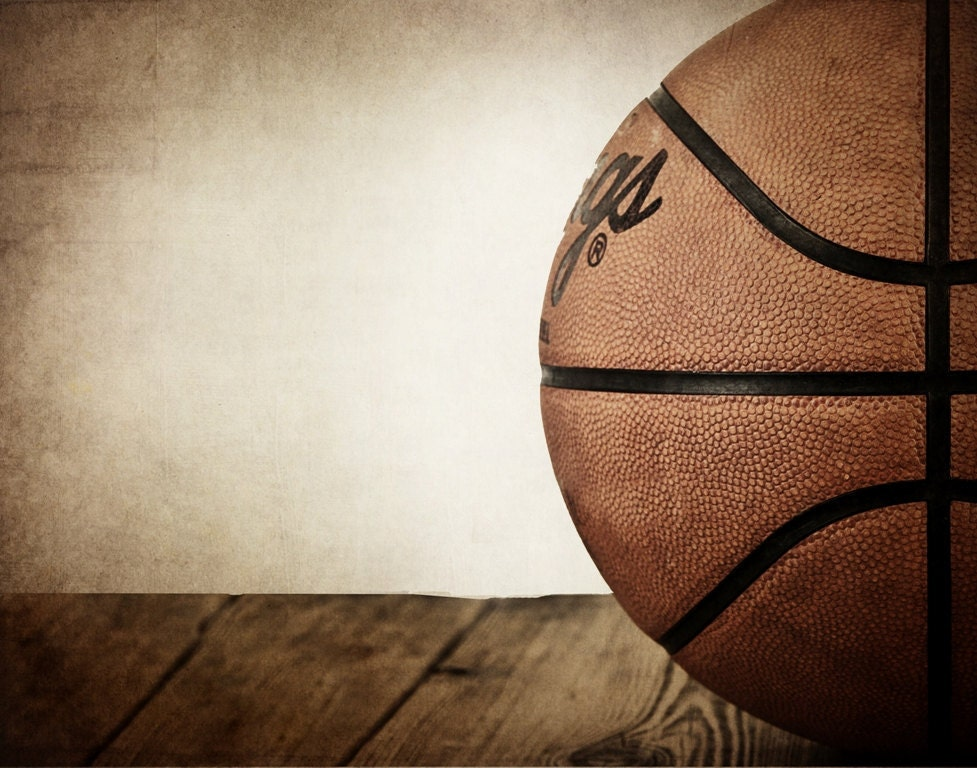 Vintage Basketball On Wood Half View Photo Print By