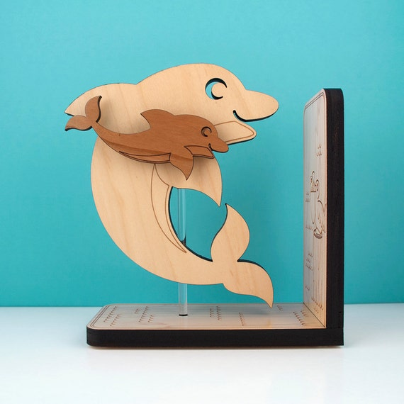 Wood Dolphin Bookend Kids Wooden Ocean Fish Bookend