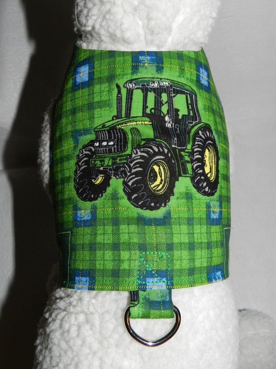 JOHN DEERE Green Tractor Country Harness Vest. Perfect Item for your Cat, Dog or Ferret. All Items Are Custom Made For Your Pet.