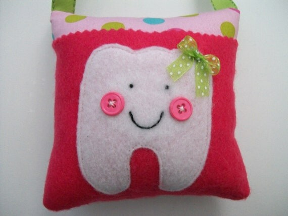 Girls Tooth Fairy Pillow polka dots pink green and blue