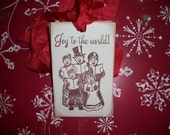 Christmas Tags - Vintage Carolers-Joy to the World-Set of Six