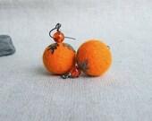 BUY 2 GET 1 FREE    Orange Felt earrings Felt Jewelry Soft Felted Balls Merino wool Fall Fashion Autumn trends
