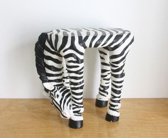 Vintage Zebra Stool Side Table