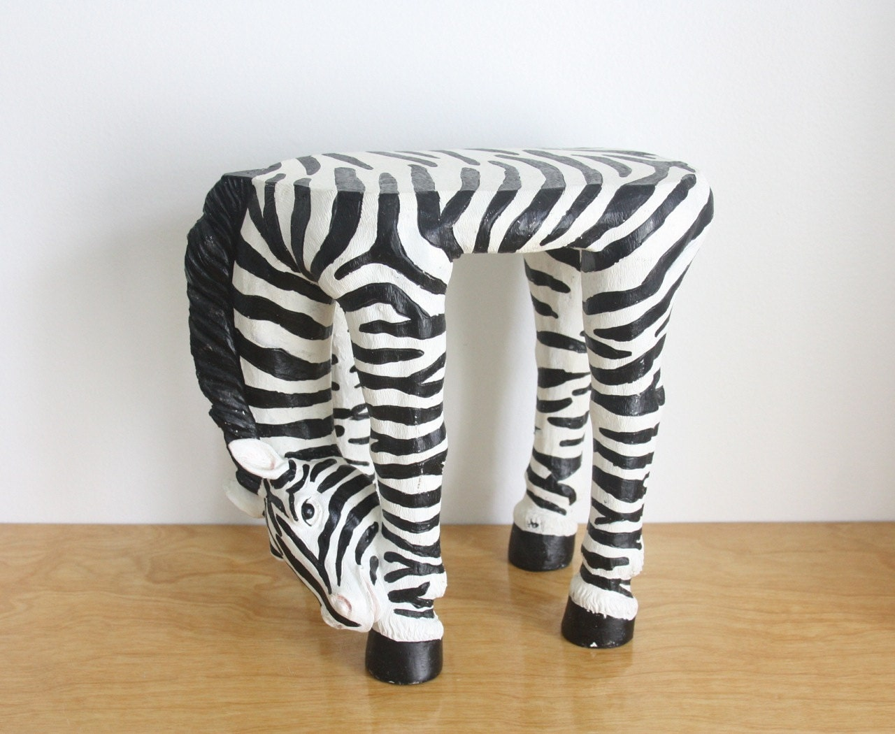 Vintage Zebra Stool Side Table