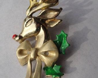 Vintage Rudolph, Reindeer Brooch, Holiday Deer Pin, vintage Christmas