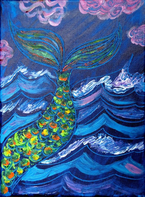 original mermaid tail painting by artpoet on etsy