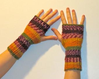 Merino Cashmere Hand Knit Wrist Warmers Fingerless Gloves multi rainbow