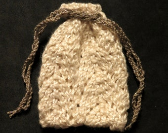 Silk Bamboo Hand Knit Small Gift Pouch in 'Ivory'