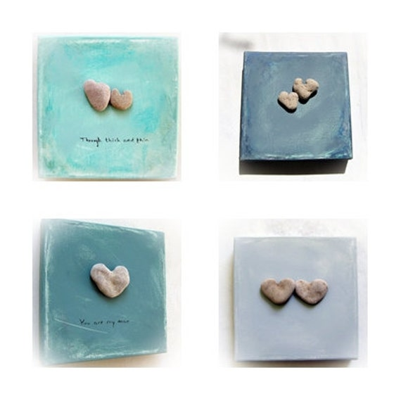 Unique Wedding Gifts - 4 pieces  Special Price-  genuine Heart shaped Beach stone rock