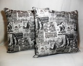 Monster movie pillow covers b movie posters