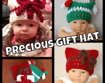 Instant Download  Crochet Pattern- No. 85 Precious Gift Hat -variety of sizes