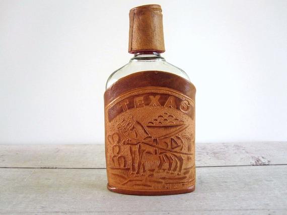 Vintage Tooled Leather Flask Holder - Texas Hip Flask