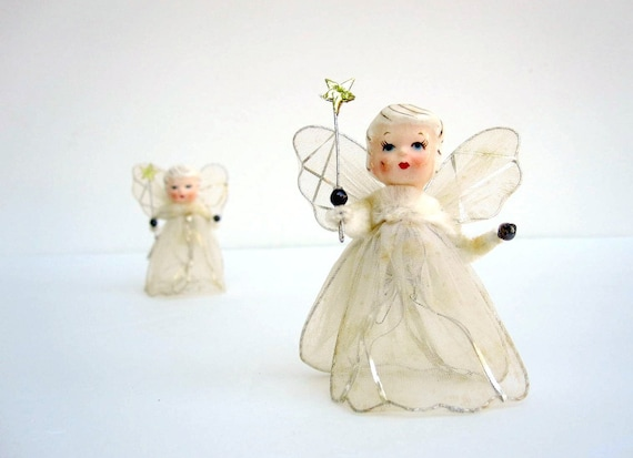White Christmas Angel Ornaments 1950s - Porcelain and Tulle - with Gold Fairy Wands