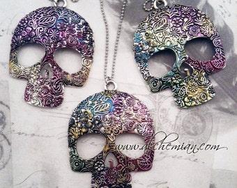 Mexican Sugar Skull Necklace Antique tibetan Silver Sugar Skull Pendant Necklace painted