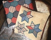 Pair of red and blue Patchwork and Applique cushions