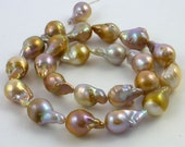 Beautiful multi colored pondslime nucleated flameball pearls 16-19mm 1/2 strand