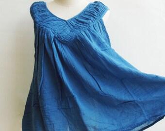 B9, Sky Sleeveless V Neck Blue Cotton Blouse