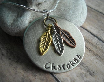 Indian Feathers Tribe Cherokee Arapaho Dakota Sioux  Shawnee Camanche  Charm Uniquely Impressed