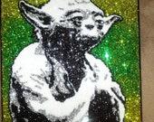 Yoda- 9x12 glitter art