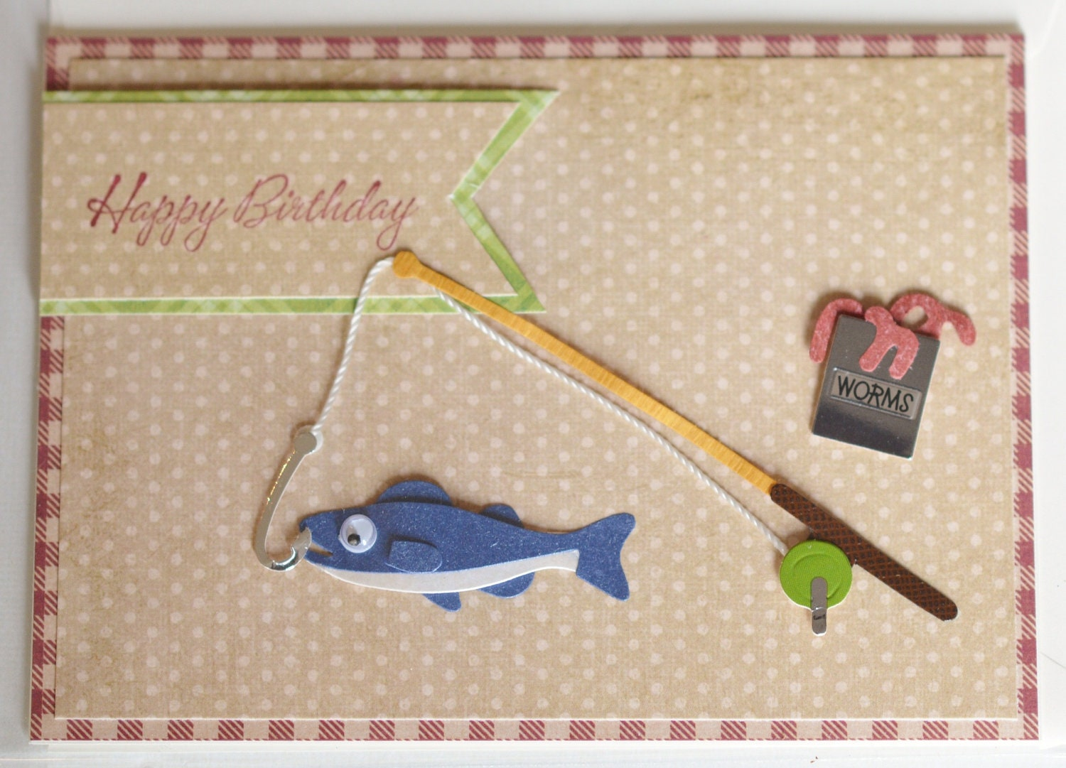 Male birthday card fishing fish masculine card father for Fishing birthday cards